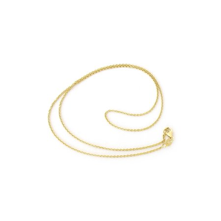 Solid 14k Yellow or White Gold 1.2mm Round Cable Link Chain Necklace with Lobster Lock, 16 18