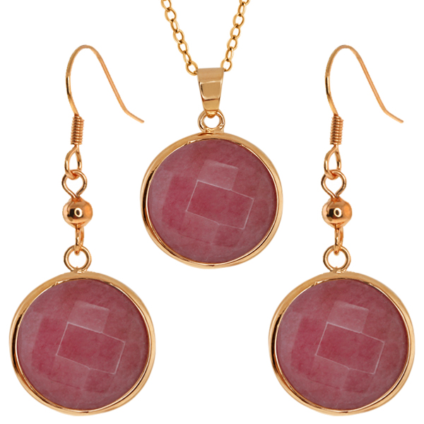 Stunning Faceted Dark Pink Color Jadelite 18MM Round Dangle Earrings/Pendant Set