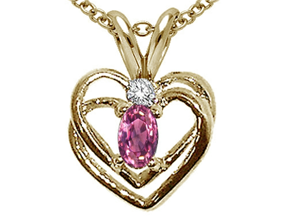 Tommaso Design Genuine Pink Tourmaline Heart Pendant Necklace by