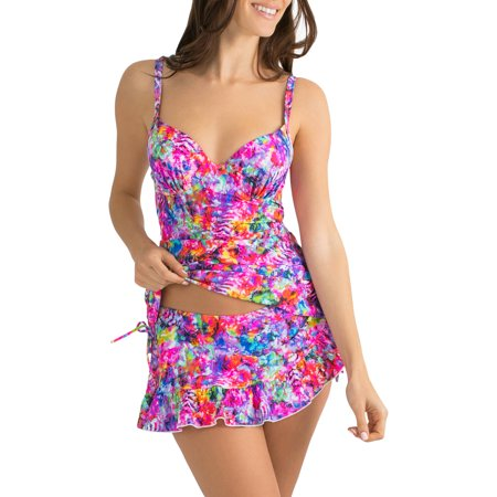 Smart & Sexy Women's Long-Length Bra-Sized Tankini Top With Side Ties