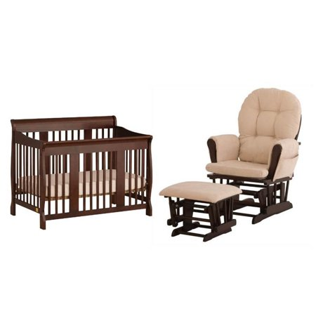 3 Piece Nursery Furniture Set With Crib And Rocker In Cherry