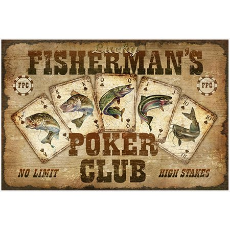 Fishermans Poker Club Novelty Sign | Indoor/Outdoor | Funny Home Décor for Garages, Living Rooms, Bedroom, Offices | SignMission personalized gift Wall Plaque Decoration