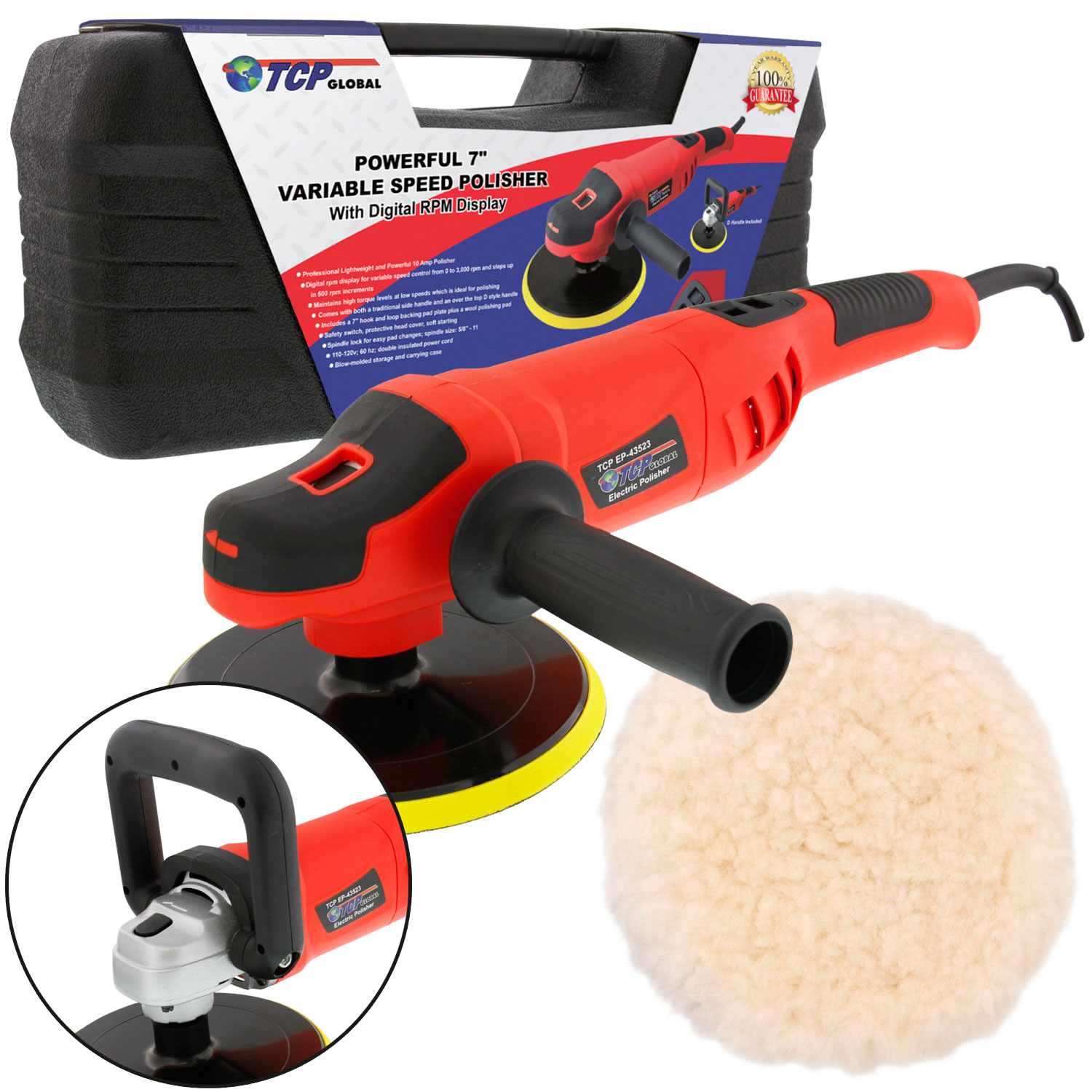 "7"" Variable Speed Polisher with Digital RPM Display; High Performance Polisher with a... by TCP Global Corp"