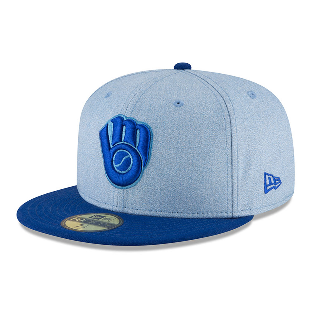 Milwaukee Brewers New Era 2018 Father's Day On Field 59FIFTY Fitted Hat - Light Blue