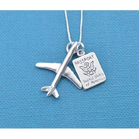 World Traveler Charm necklace on 18 sterling silver box chain featuring an jet airplane charm and a passport in sterling silver. Pilot - Sterling Silver Airplane
