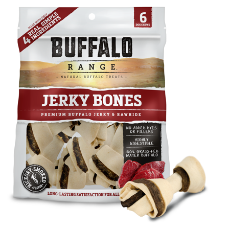 Buffalo Range Rawhide Dog Treats | Healthy, Grass-Fed Buffalo Jerky Raw Hide Chews | Hickory Smoked Flavor | Jerky Bone, 6 Count