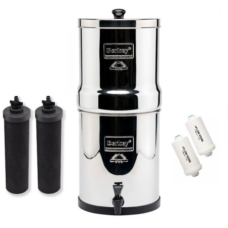 Big Berkey Water Filtration System Bundle with 2 Black Filters, 2 Fluoride Filters 2.25 Gallon