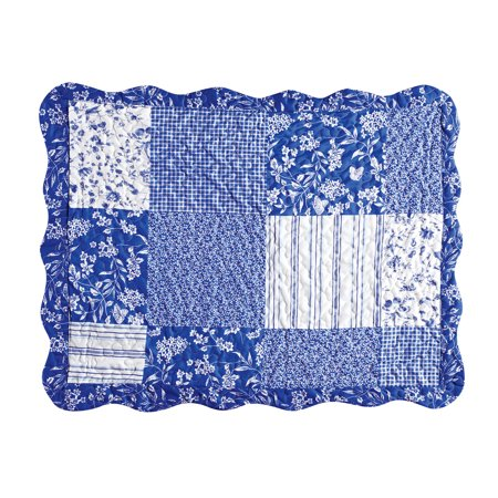 Cottage Escape Blue Stripes and Floral Patchwork Pillow Sham with Scalloped Edges - Seasonal Décor, Sham, Blue ()
