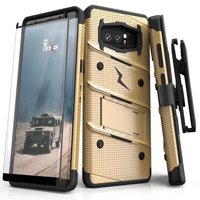 ZIZO BOLT Series Samsung Galaxy Note 8 Case Military Grade Drop Tested with Tempered Glass Screen Protector Holster GOLD BLACK