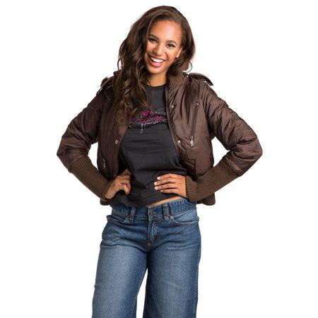 Burton Brown Jacket (Sweet Vibes Junior Women Brown Puffy Waist Length Down Jacket Faux Fur Trim)