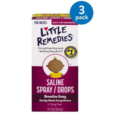 Buffered Saline Solution - (3 Pack) Little Remedies Saline Spray/Drops, 1 fl oz