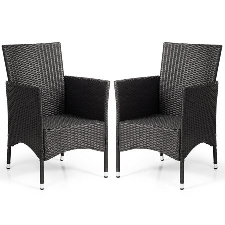 Gymax 2PC Patio Rattan Wicker Dining Chairs Set Black With 2 Set Cushion Covers - image 4 of 10