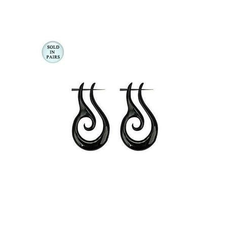 Black Organic Horn Tribal Design Dangle Hanger Earrings - 14