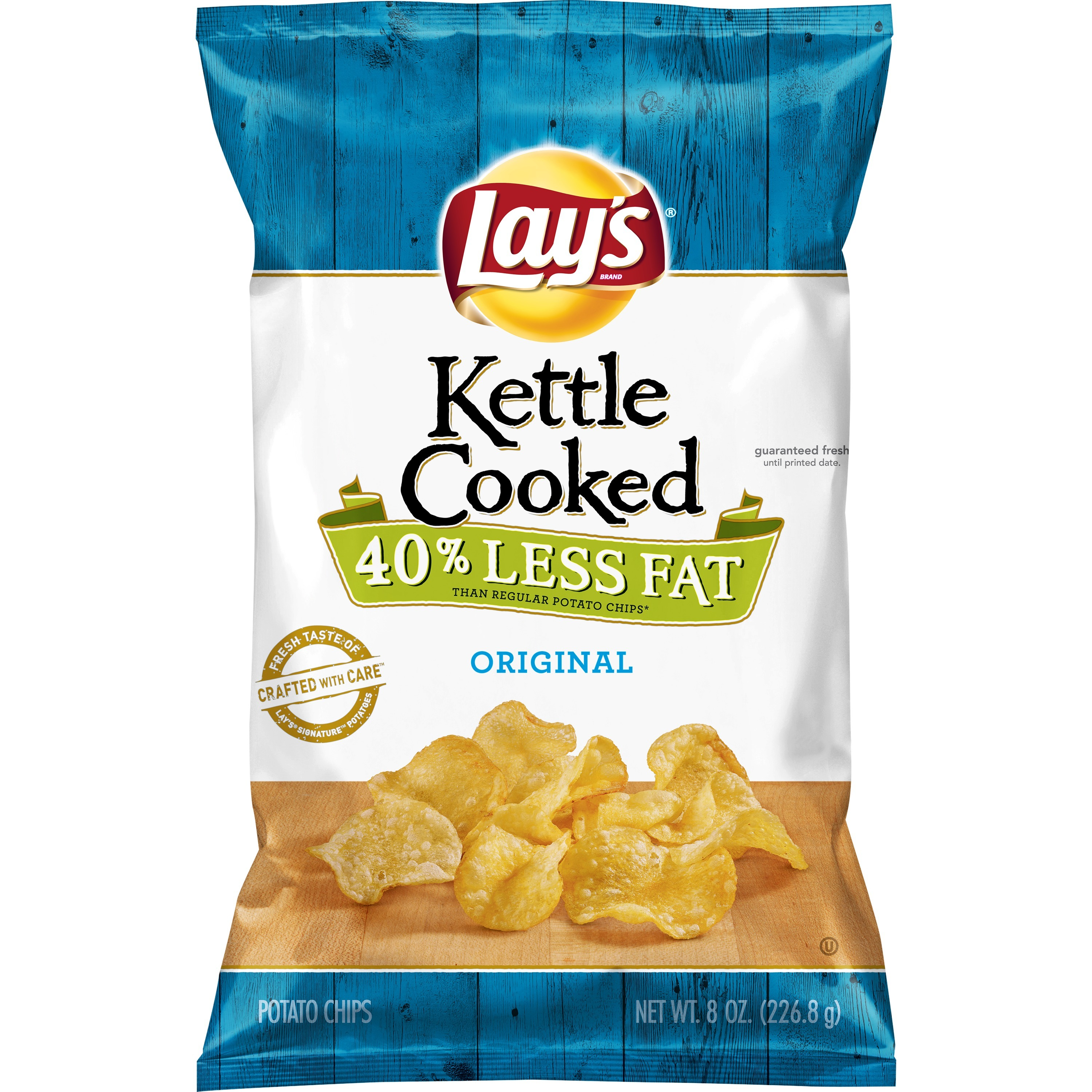 Lay's Kettle Cooked Potato Chips, Reduced Fat, Original, 8 oz. Bag