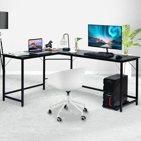 GOPLUS Bureau Informatique Coin en Forme de L Caf/é Charge Max 100KG Bureau//Table d/'Angle Ordinateur 167,5 x 125,5 x 73,5CM avec Support CPU Mobile Etude Table pour Maison et Bureau