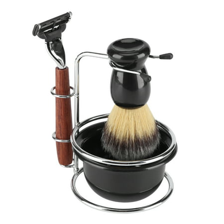 4Pcs Shaving Kit Manual Razor + Stainess Steel Stand Holder + Brush + Bowl Set, Shaving Stand Set, Shaving Bowl Set