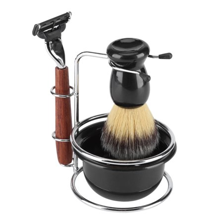 - 4Pcs Shaving Kit Manual Razor + Stainess Steel Stand Holder + Brush + Bowl Set, Shaving Stand Set, Shaving Bowl Set