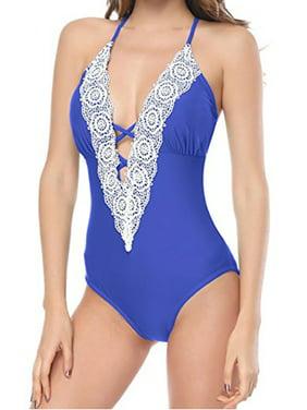 933e3d455b Product Image LELINTA Women's Halter One Piece Swimsuit Set Floral Lace  Deep V Neck Bikini Slimming Swimwear Bathing