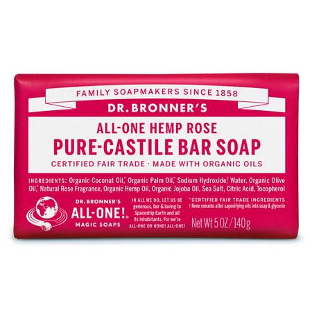 Red Rose Soap ((2 pack) Dr. Bronner's Rose Bar)