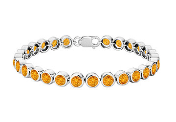 Citrine Bezel Set Tennis Bracelet 925 Sterling Silver 25.00 CT TGW by Love Bright