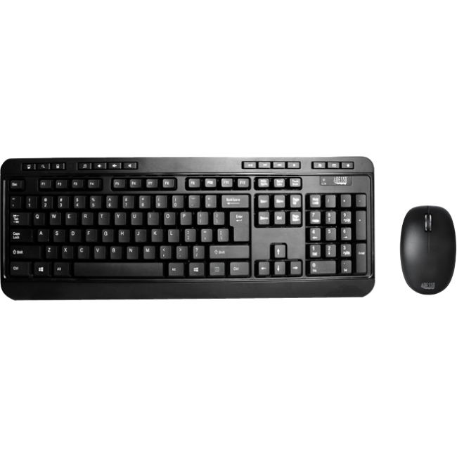 Adesso 2.4GHz Wireless Desktop Keyboard and Optical Scroll Mouse Combo