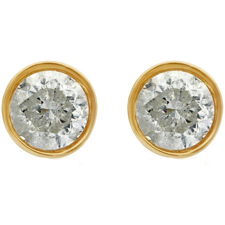 1/2 Carat T.W. Round Diamond 14kt Yellow Gold Bezel Stud Earrings with Gift Box, IGL Certified