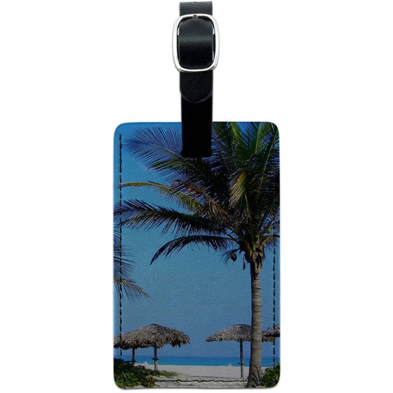 914dc5edea34 Tropical Beach Resort Palm Tree Sand Leather Luggage ID Tag Suitcase  Carry-On