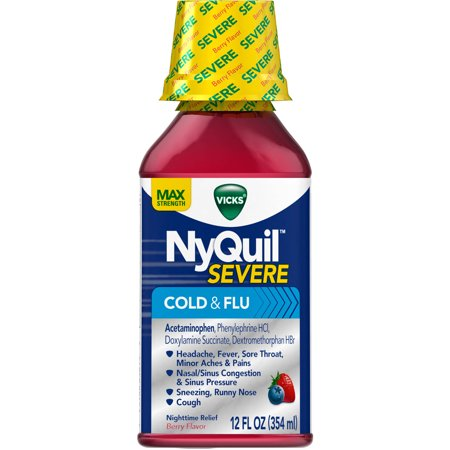Nyquil Cold And Flu (Vicks NyQuil Severe Cold and Flu, 12 FL OZ (Pack of)