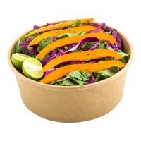 Round Food Container, Round Salad Container - Take Out, To Go - 25 oz - Kraft - Lid Sold Separately - Bio - 200ct