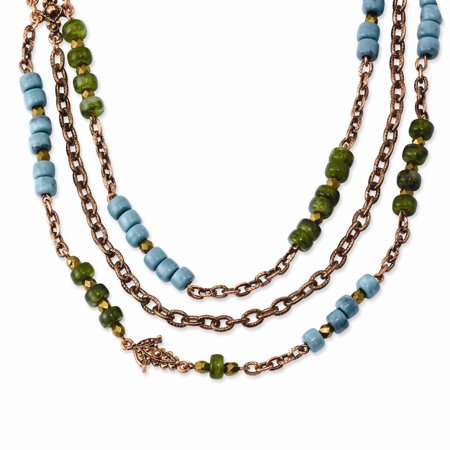 Fancy Lobster Closure Copper-tone Green Teal and Brown Acrylic Beads 42inch Necklace (Green Bead Necklace)
