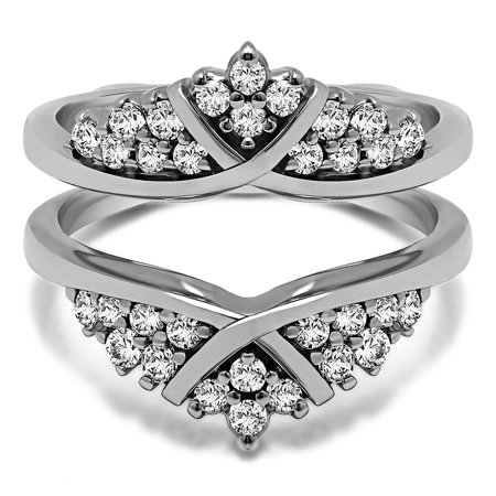 X Style Triple Row Anniversary Ring Guard in Sterling Silver (0.5ctw)