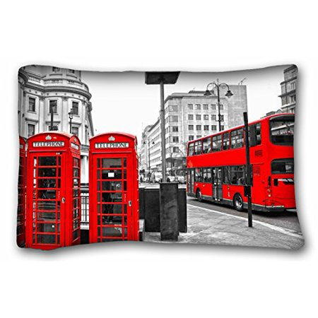 - WinHome Generic Rectangle Pillow Black And White London City Styel Retro Red Bus And Telephone Boxes Pattern Print Home Decor Size 20x30 Inches Two Sided Print
