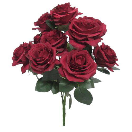 Charlton Home Deluxe Queen Bush Roses Floral Arrangement (Set of 3)