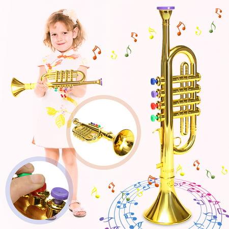 Musical Instrument Rhythm & Music Toys for Kids Natural Toys Mini Plastic Horn Trumpet Toddler Kids Children Toys Birthday Christmas Gift Gold , Silver ()