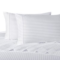100% Cotton Sateen Bed Sheet Set 300 Thread Count Damask Striped - Queen-White