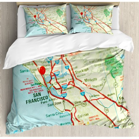 Map Duvet Cover Set, Vintage Map of San Francisco Bay Area with Red Pin  City Travel Location, Decorative Bedding Set with Pillow Shams, Pale Blue  Pale ...