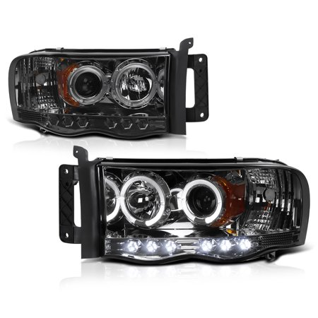 Led Lighting Drivers - [For 2002-2005 Dodge RAM 1500 2500 3500] LED Halo Ring Smoke Projector Headlight Headlamp Assembly, Driver & Passenger Side