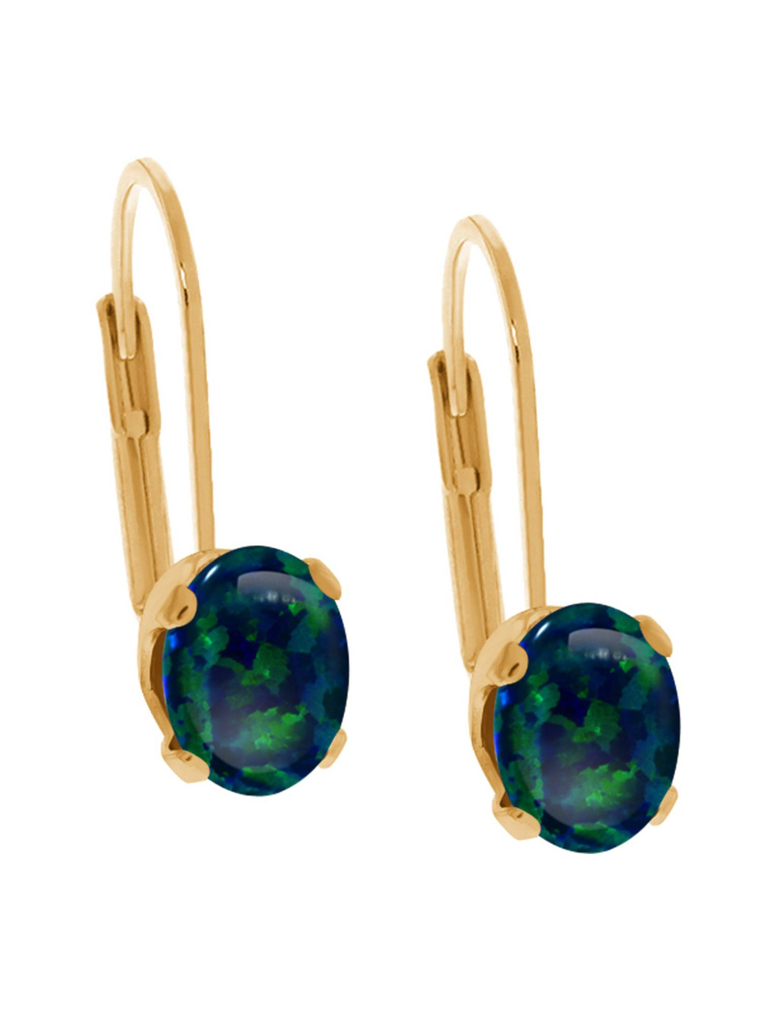 1.00 Ct Oval Cabochon Green Simulated Opal 14K Yellow Gold Earrings by