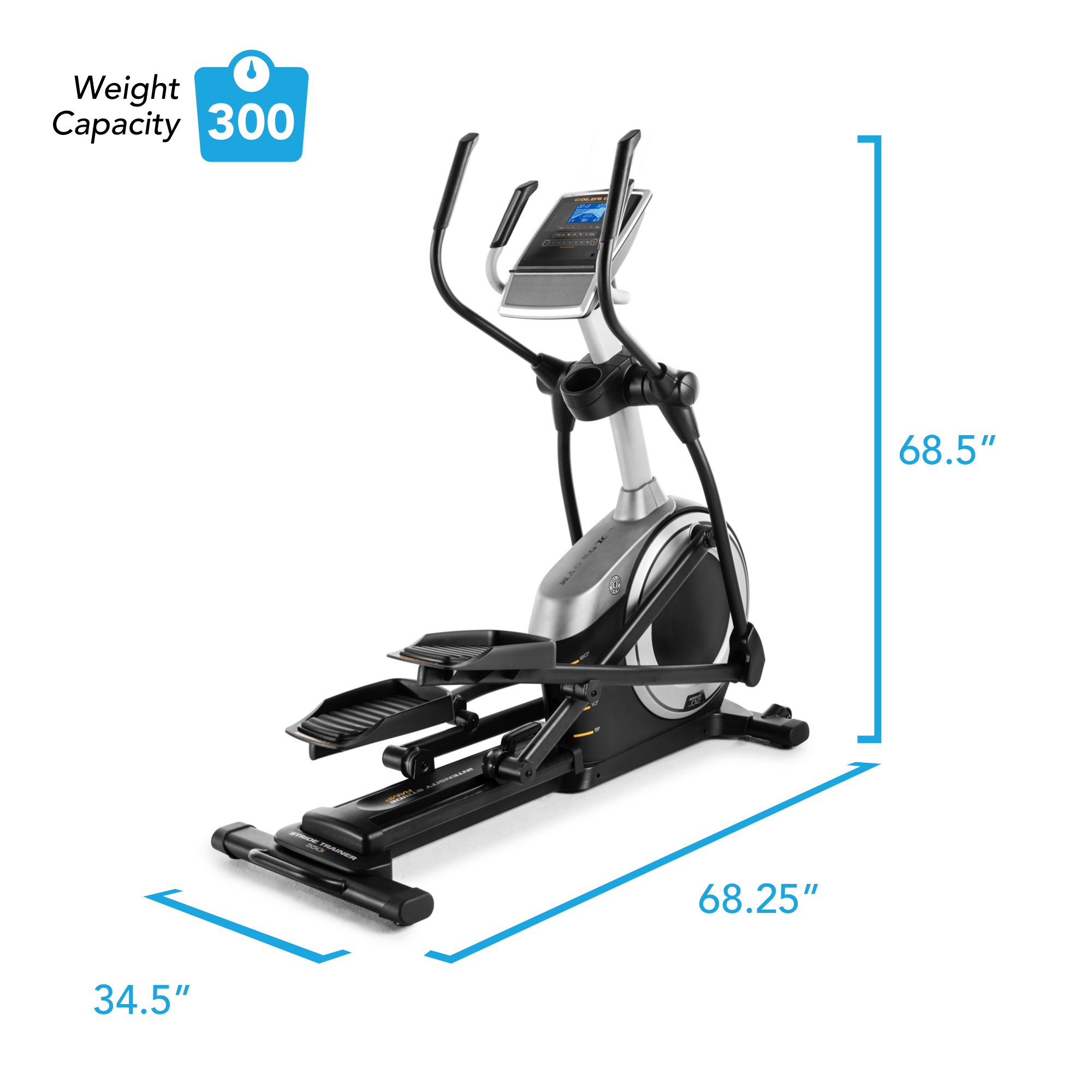 Gold's Gym Stride Trainer 550i Elliptical with Adjustable Incline -  Walmart.com