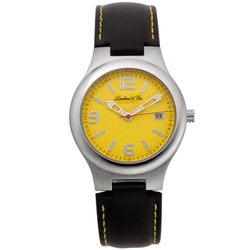 Lombard and Cie Men's Black Leather Clyde Classic Retro Styling Casual Watch