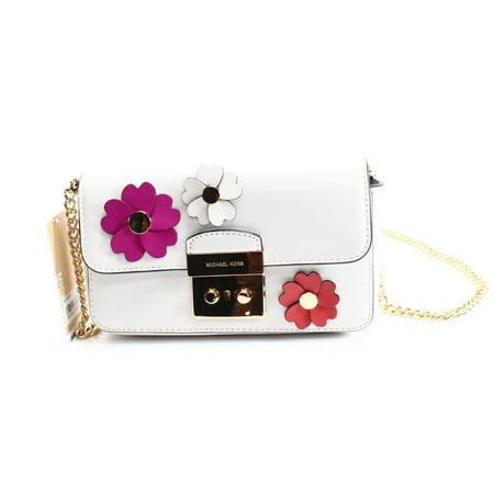 44935bf2d748cc Michael Kors - Michael Kors NEW White Floral Applique Wallet On Chain  Crossbody Purse - Walmart.com