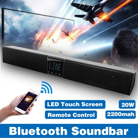 SMALODY LED Home Theater 3D Surround Stereo Audio B luetooth 4.2 TV Sound Bar Wireless Speaker Music Player Soundbar Amplifier Subwoofer Wall Hanging/Flat TF