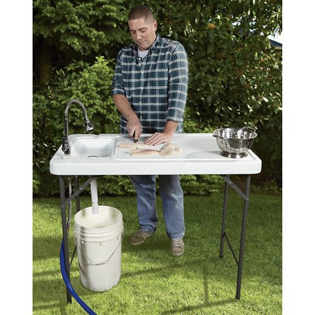 Ktaxon Portable Folding Table Fish Fillet Hunting Cleaning Cutting Camping Picnic Outdoor Gardening Table with Sink