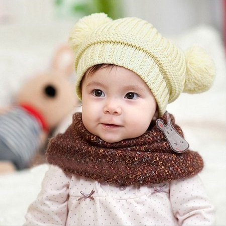 Cute Baby Kids Girl Boy Dual Balls Warm Winter Knitted Cap Hat Beanie BG - Disco Ball Hat