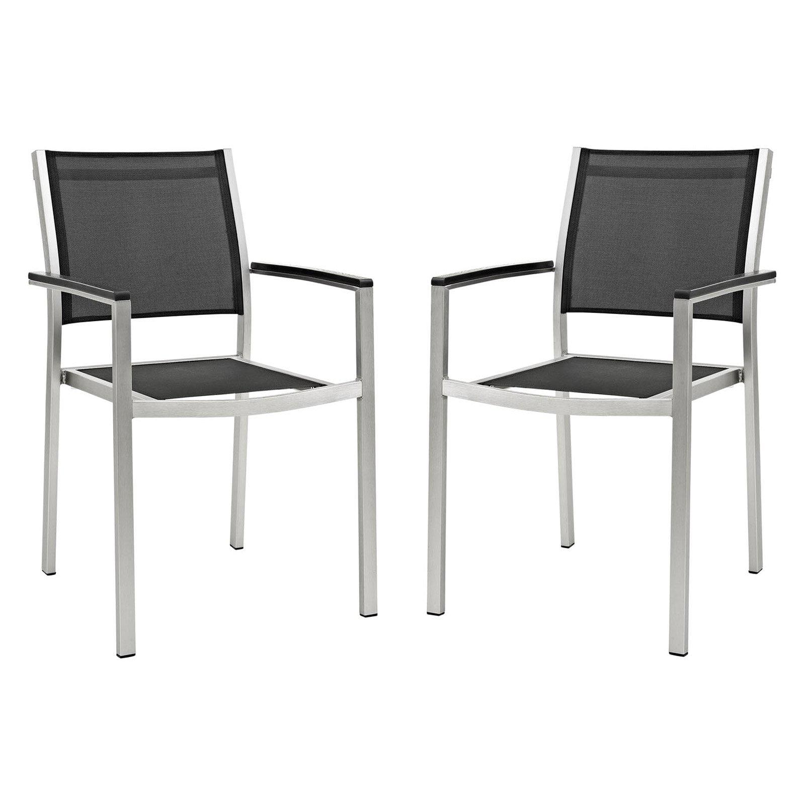 Modway Shore Outdoor Patio Aluminium Dining Chair Set Of 2 Silver Black Walmart Com Walmart Com