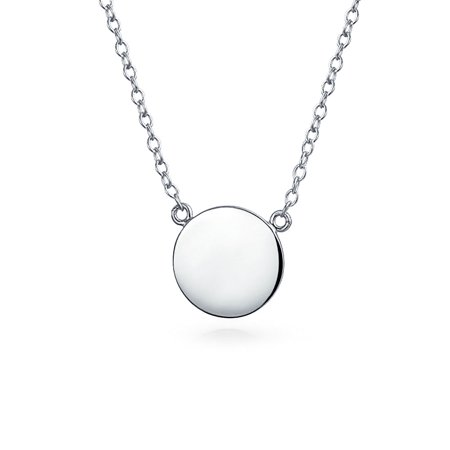 Minimalist Round Circle Disc Geometric Engravable Monogram Station Pendant Necklace For Women For Teen Sterling Silver ()