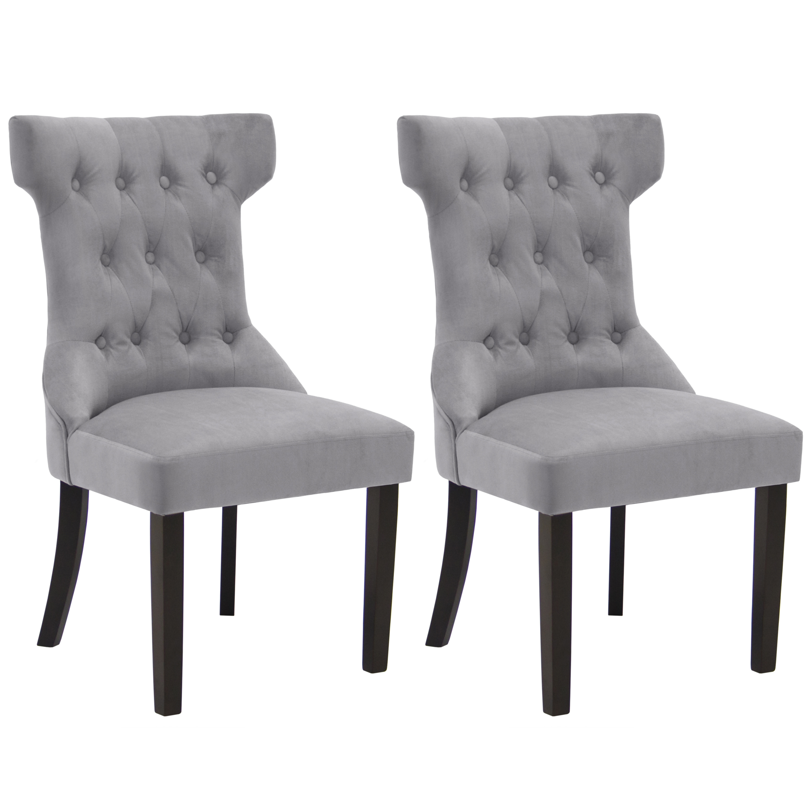 BCP Set of 2 Elegant Design Tufted Dining Chairs Contemporary Furniture Grey by