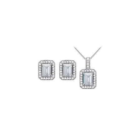 April Birthstone Cubic Zirconia Halo Earrings and Pendant in 14K White Gold - image 2 de 2
