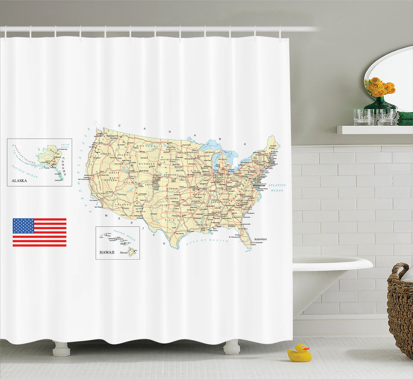 Wanderlust Decor Usa Detailed Map Topographic Contours Country And Land Names Roads, Railways., Bathroom Accessories, 69W X 84L Inches Extra Long, By Ambesonne