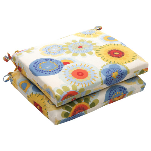 Pillow Perfect Outdoor/ Indoor Crosby White Squared Corners Seat Cushion (Set of 2)